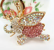 Fly Elephant Princess Crown Pendent Crystal Purse Bag Keyring Chain Accesories