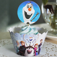 Themed Cupcake Muffin Wrappers & Toppers Cake Baking Decorating x12 FROZEN