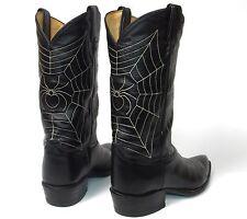 Tony Lama Vintage 60's Black Cowboy Boots - Mens 10D - Spider Web Design J-Toes
