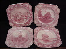4 RED CROWN DUCAL COLONIAL TIMES SQUARE SALAD PLATES - DIFFERENT SCENES