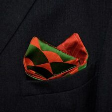 "Men's Pocket Square Accessory Vintage Japanese Kimono Fabric ""Merry Christmas"""