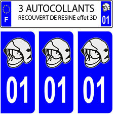 3 sticker plaque immatriculation auto DOMING 3D RESINE CASQUE POMPIER DEPARTE 01