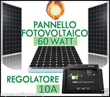 KIT FOTOVOLTAICO, PANNELLO 60 Watt [PHOTON SOLAR celle in EVA] Regolatore 10 A