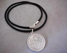 NECKLACE MEN'S, PEWTER YIN & YANG PENDANT, RUBBER CORD - 7427