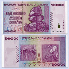 Zimbabwe 500 Million Dollars banknote 2008 P82 Unc currency bill