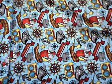 PIRATE FABRIC AHOY MATEY FABRIC TREASURE CHESTS BOATS HATS SPRINGS CREATIVE BTY