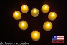 8 pc New FLAMELESS FLICKERING (LED) TEA LIGHT CANDLES Battery Operated Tealights
