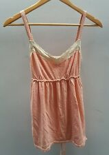 Tu Coral Amd Cream Striped Top Size 10 Lace  J1683