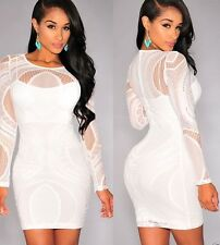 NEW STUNNING WHITE LONG SLEEVE BODY ILLUSION LACE BODYCON DRESS TOP SIZE 10 / 12