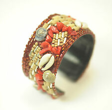 LADIES CHUNKY AZTEC AQUATIC CORAL  LOOK BRACELET RED UNIQUE STATEMENT PIECE(SR1)