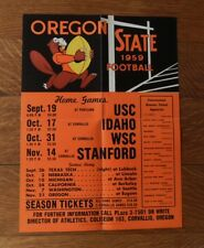Rare 1959 OREGON STATE COLLEGE BEAVERS Vintage Football POSTER-SCHEDULE Fold Out