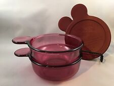 2 CORNING WARE PYREX VISIONS CRANBERRY GLASS 150B HEAT N EAT GRAB IT SOUP BOWLS