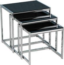 Novella Nest of Three Tables in Black Glass/Chrome - Free Delivery