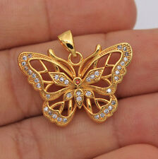 18K Yellow Gold Filled - Butterfly Ruby Topaz Zircon Hollow Party Gems Pendant