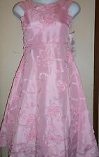 Rare Editions Girls Tea Length Organza Special Occasion Ribbon Dress Pink 10 NWT