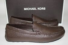 NIB MICHAEL KORS Size 8 Mens Dark Brown 100% Pebbled Leather WILLIAM Driving Moc