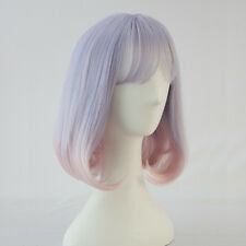 Ombre Light Purple to Pink Harajuku Lolita Cosplay Short Bob Curly Party Wig