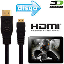 Disgo 6000, 7000, 8000 Android Tablet PC HDMI Mini to HDMI TV 2.5m Gold Cable