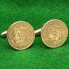 Weimar Republic Coin Cufflinks, Brass 5 Reichspfennig German Germany