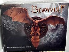 "RARE NEW 12"" L/E BEOWULF GOLDEN DRAGON WALL STATUE POLYRESIN"