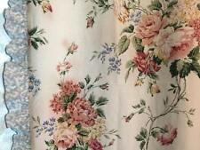 Waverly BELLE RIVE Shabby Roses Curtains Floral Blue Savoy Eyelet Lace