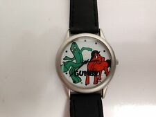 True Vintage GUMBY Wrist Watch genuine black leather Band Collectible