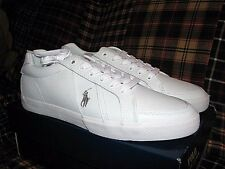 "Men's $75 POLO-RALPH LAUREN White Leather Sneakers/ Shoes (9) ""HUGH"""