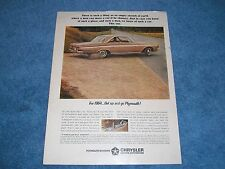 "1964 Plymouth Sport Fury Vintage Color Ad ""For 1964...Get Up and Go Plymouth!"""