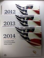 2012-2013-2014 U.S. Annual Uncirculated Dollar Coin Sets W/Silver Eagles Incl.