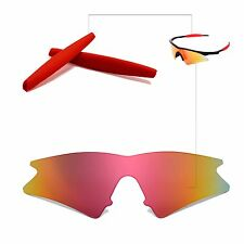 Walleva Fire Red Replacemen​t Lenses+Ear​socks For Oakley M Frame Sweep