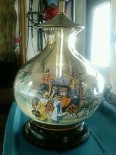 Antique Bohemian glass Old English enamel stagecoach lamp