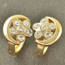 Lovely 9K Solid Gold Filled Crystal Crystal Womens Hoop Earrings,Z3423
