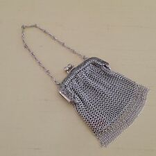 Antique Whiting and Davis Silver Metal Chain Mesh Finger Coin Purse