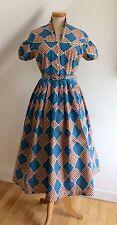 Vintage 50s Vestido Falda de círculo Dirndl Rojo Azul Abstracto USA Rockabilly Pinup De 12