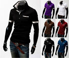 New Men's Grid Patched Slim Fit Short Sleeves Polo Shirts Casual Fashion Stylish