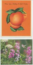 VINTAGE PEACH UPSIDE DOWN CAKE RECIPE BIRTHDAY PRINT 1 LANG SWEET PEA FLORA CARD