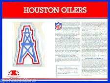 HOUSTON OILERS Willabee & Ward NFL TEAM EMBLEM PATCH COLLECTION + INFO STAT CARD