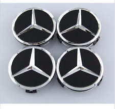 4x Black 75mm Center Hubcap Hub Cap Caps Wheel Cover for Mercedes Benz