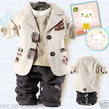 3PC Toddler Kids baby boys suit coat+Long Sleeve T-Shirt+long Pants clothing set