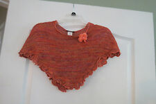 NEXT CONCEPT girls size OSFA crochet/knit browns & oranges accent orange flower
