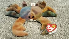 Rare TY Beanie Baby Claude The Crab with several errors in excellent condition