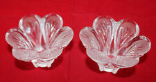 D'arques Lead Crystal Granville Flower Shaped 2 Candle Holder Set Clear France