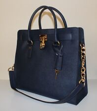 NWT Authentic MICHAEL KORS Hamilton Large Saffiano Leather Satchel Handbag NAVY