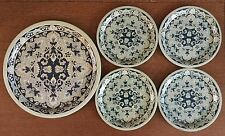 Vintage DELFT Blue Holland Tin 5 Plate Set Delfts Blauw Made in Holland