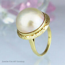 Ring in 585/- Gelbgold mit 1 Mabeperle  Ø 15,90 mm - 6,9 gr -