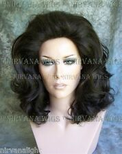 Marrone Scuro LOTS OF volume MED lunghezza DRAG QUEEN Linea Uomo Donna Parrucca