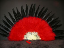 MARABOU FEATHER FAN - RED w/ BLACK Pheasant; Sexy/Dress/Dance/Costume/Burlesque