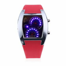 RPM Speedometer Car Turbo Speed Gauge Odometer Pink Silicone Digital LED Watch