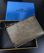 NWT Coach Metallic Gold Mini Skinny Coin /Card ID Wallet with Key ring  F64785
