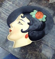 Royal Dux CECOSLOVACCHIA maschera di Muro Art deco Lady POSACENERE PIATTO 1930s RARA